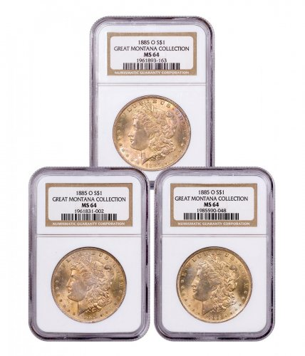 3-Coin Set - 1885-O Morgan Silver Dollar From the Great Montana Collection NGC MS64 Toned CPCR 3163
