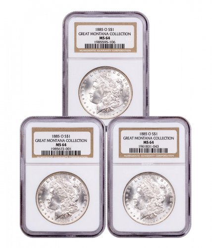 3-Coin Set - 1885-O Morgan Silver Dollar From the Great Montana Collection NGC MS64 Toned CPCR 5106