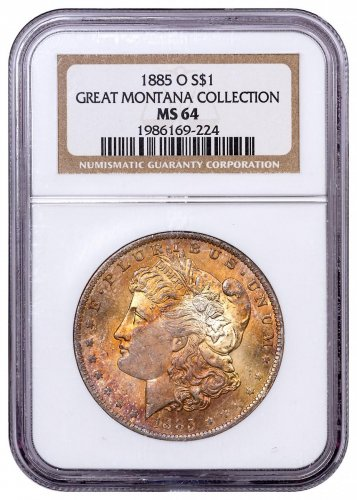 1885-O Morgan Silver Dollar From the Great Montana Collection NGC MS64 Toned CPCR 224