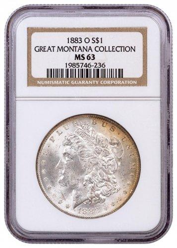 1883-O Morgan Silver Dollar From the Great Montana Collection NGC MS63 Toned CPCR 236