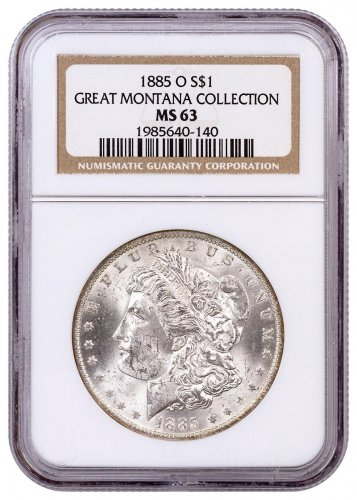1885-O Morgan Silver Dollar From the Great Montana Collection NGC MS63 Toned CPCR 140