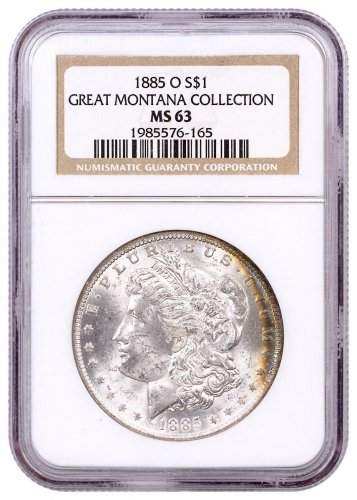 1885-O Morgan Silver Dollar From the Great Montana Collection NGC MS63 Toned CPCR 6165