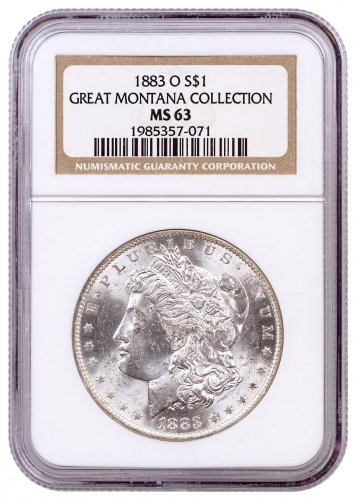 1883-O Morgan Silver Dollar From the Great Montana Collection NGC MS63 Toned CPCR 071