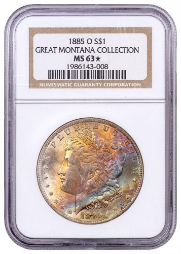 1885-O Morgan Silver Dollar From the Great Montana Collection NGC MS63* Toned CPCR 008