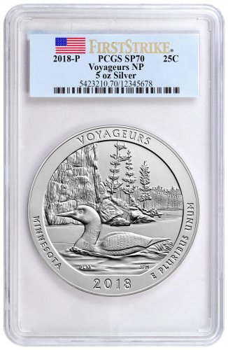 2018 Voyageurs 5 oz. Silver America the Beautiful Specimen Coin PCGS SP70 FS Flag Label