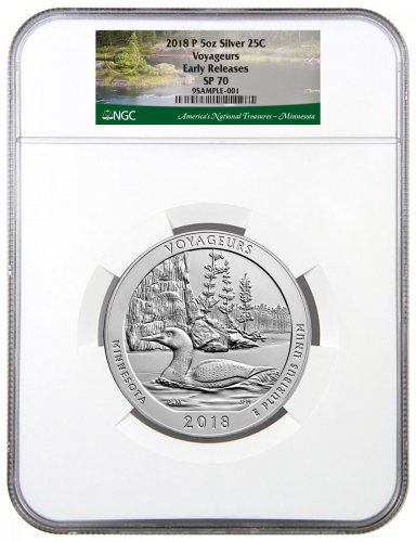 2018 Voyageurs 5 oz. Silver America the Beautiful Specimen Coin NGC SP70 ER