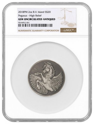 2018 British Virgin Islands 2 oz High Relief Silver Pegasus Antiqued $20 Coin NGC GEM Unc