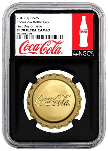 2018 Fiji Coca Cola Bottle Cap 12 g Gold Proof $25 Coin Scarce and Unique Coin Division NGC PF70 UC FDI Black Core Holder Exclusive Coca-Cola Label