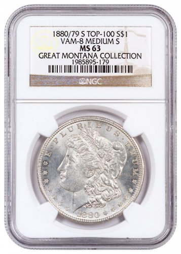 1880/79-S Morgan Silver Dollar From the Great Montana Collection NGC MS63 VAM-8