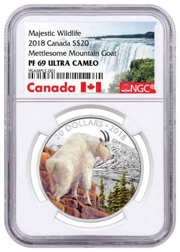 2018 Canada Majestic Wildlife - Mettlesome Mountain Goat 1 oz Silver Proof $20 Coin NGC PF69 UC Exclusive Canada Label