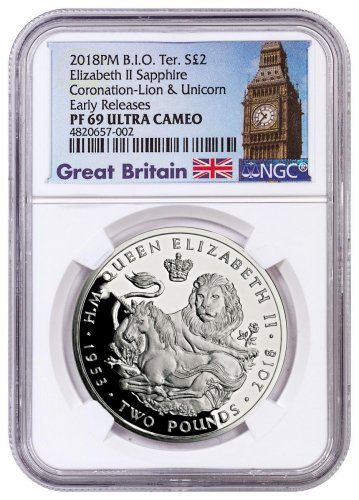 2018 British Indian Ocean Territory Sapphire Coronation - Lion & Unicorn Silver Proof £2 Coin NGC PF69 UC ER