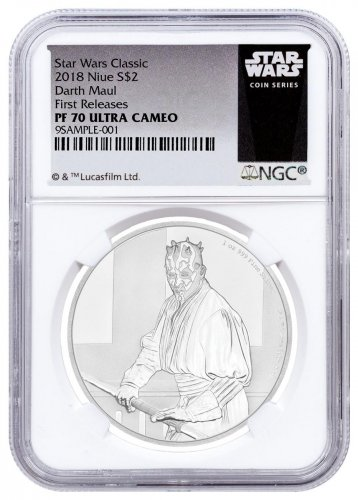2018 Niue Star Wars Classic - Darth Maul 1 oz Silver Proof $2 Coin NGC PF70 UC FR Exclusive Star Wars Label