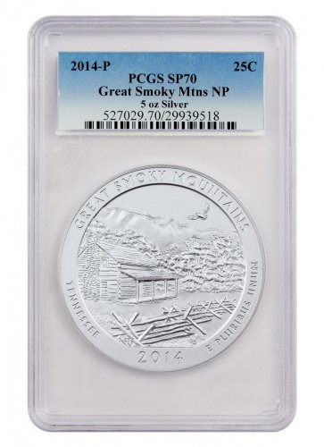 2014-P Great Smoky Mountains 5 oz. Silver America the Beautiful Specimen Coin PCGS SP70