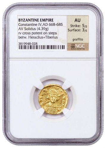 AD 610-641 Byzantine Empire, Gold Solidus of Heraclius NGC AU