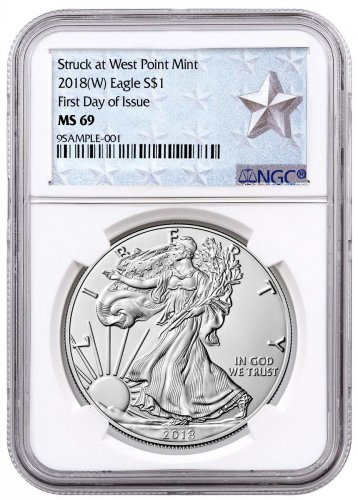 2018-(W) American Silver Eagle Struck at West Point NGC MS69 FDI West Point Silver Star Label