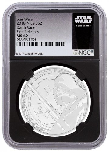 2018 Niue Star Wars Classic - Darth Vader 1 oz Silver $2 Coin NGC MS69 FR Black Core Holder Star Wars Label