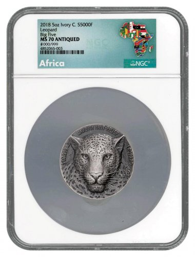 2018 Ivory Coast Mauquoy Haute Big Five - Leopard High Relief 5 oz Silver Antiqued Fr.5,000 Coin NGC MS70 Exclusive Africa Label