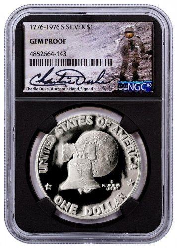 1976-S Silver Eisenhower Dollar NGC GEM Proof Black Core Holder Charlie Duke Signed label