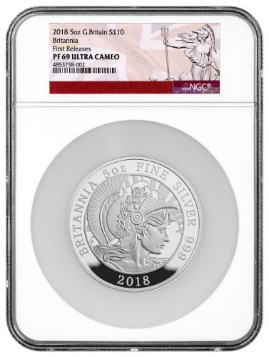 2018 Great Britain 5 oz Silver Britannia Proof £10 Coin NGC PF69 UC FR Britannia Label