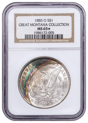 1885-O Morgan Silver Dollar From the Great Montana Collection NGC MS65* Toned CPCR 2005