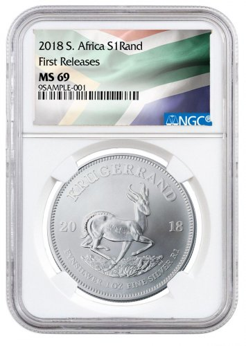 2018 South Africa 1 oz Silver Krugerrand R1 Coin NGC MS69 FR South African Flag Label
