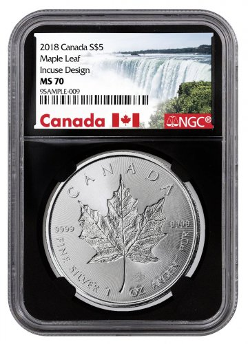 2018 Canada 1 oz Silver Maple Leaf - Incuse $5 Coin NGC MS70 Black Core Holder Exclusive Canada Label