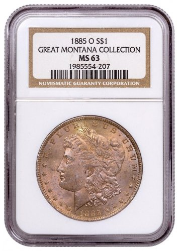 1885-O Morgan Silver Dollar From the Great Montana Collection NGC MS63 Toned CPCR 4207