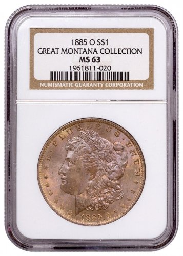 1885-O Morgan Silver Dollar From the Great Montana Collection NGC MS63 Toned CPCR 1020