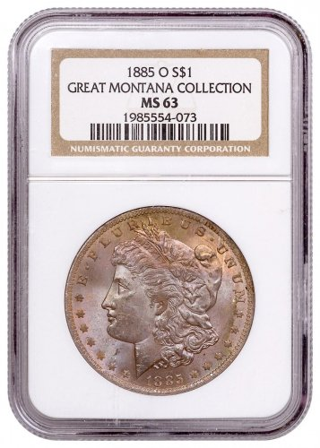 1885-O Morgan Silver Dollar From the Great Montana Collection NGC MS63 Toned CPCR 4073