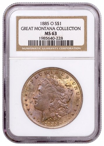 1885-O Morgan Silver Dollar From the Great Montana Collection NGC MS63 Toned CPCR 0228