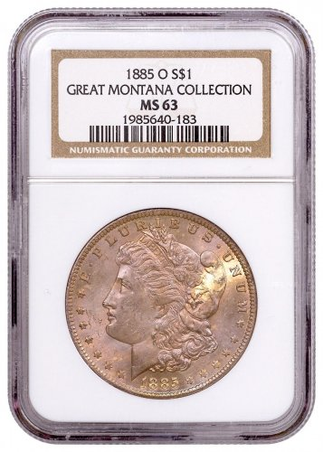 1885-O Morgan Silver Dollar From the Great Montana Collection NGC MS63 Toned CPCR 0183