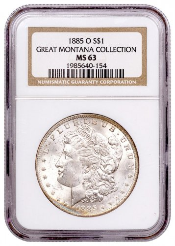 1885-O Morgan Silver Dollar From the Great Montana Collection NGC MS63 Toned CPCR 0154