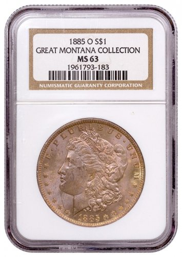 1885-O Morgan Silver Dollar From the Great Montana Collection NGC MS63 Toned CPCR 3183
