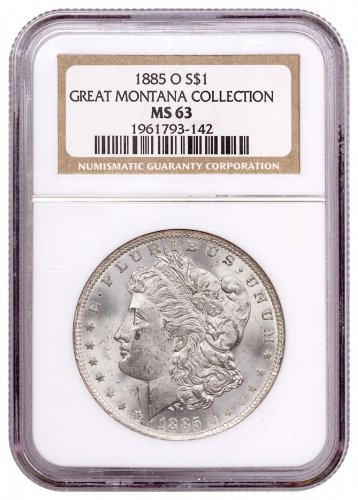1885-O Morgan Silver Dollar From the Great Montana Collection NGC MS63 Toned CPCR 3142