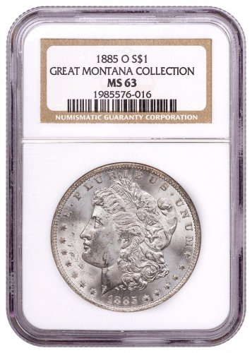 1885-O Silver Morgan Dollar From the Great Montana Collection NGC MS63 Toned CPCR 6016