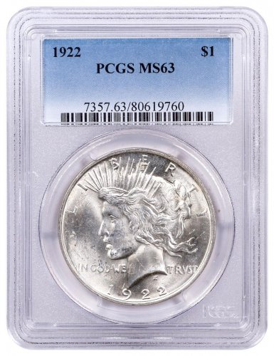 1922 Silver Peace Dollar PCGS MS63