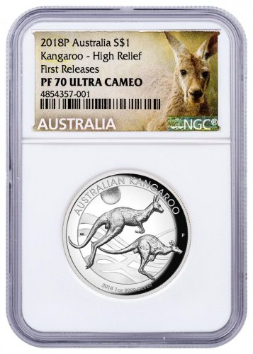 2018-P Australia 1 oz High Relief Silver Kangaroo Proof $1 Coin NGC PF70 UC FR Exclusive Kangaroo Label