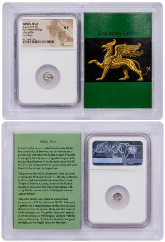 Ionia, Teos Silver Diobol (c.375-294 BC) - obv. Griffin/rv. Chelys NGC VF (Story Vault)