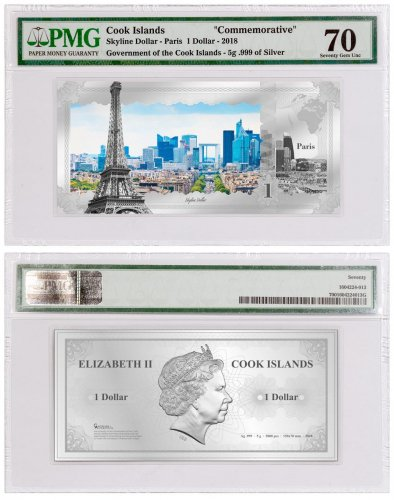 2018 Cook Islands Famous Skylines - Paris Foil Note 5 g Silver Prooflike $1 Coin PMG Gem Unc 70