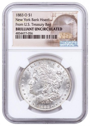1883-O Morgan Silver Dollar From the New York Bank Hoard NGC BU