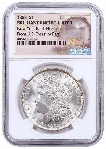 1888 Morgan Silver Dollar From the New York Bank Hoard NGC BU