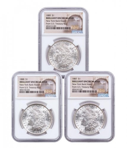 3-Coin Set - 1887-1889 Morgan Silver Dollar From the New York Bank Hoard NGC BU