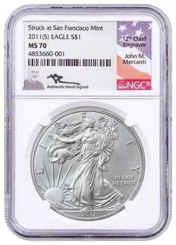 2011-(S) Silver Eagle Struck at San Francisco NGC MS70 Mercanti Signed Label