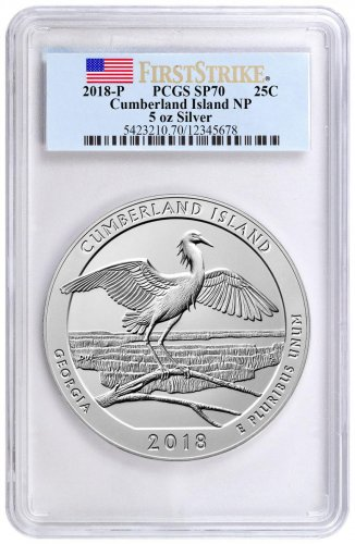 2018 Cumberland Island 5 oz. Silver America the Beautiful Specimen Coin PCGS SP70 FS Flag Label