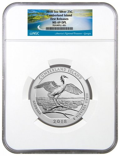 2018 Cumberland Island 5 oz. Silver America the Beautiful Coin NGC MS69 DPL FR
