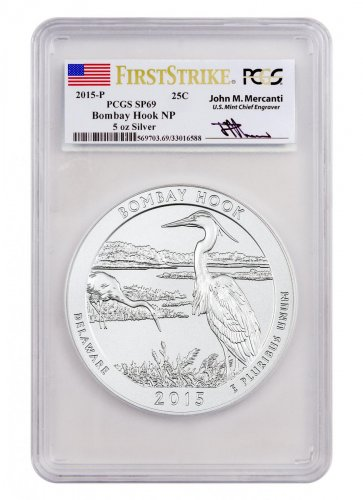 2015-P Bombay Hook 5 oz. Silver America the Beautiful Specimen Coin PCGS SP69 FS (Mercanti Signed Label)