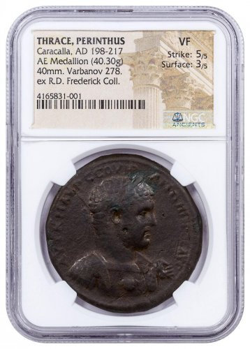 Thrace, Perinthus Caracalla AE Medallion NGC VF Strike: 5/5 Surface: 3/5