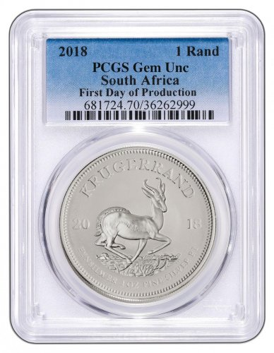 2018 South Africa 1 oz Silver Krugerrand R1 Coin Scarce and Unique Coin Division PCGS GEM Unc First Day of Production