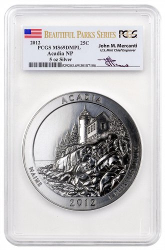 2012 Acadia 5 oz. Silver America the Beautiful Coin PCGS MS69 DMPL Mercanti Signed Beautiful Parks Series Flag Label