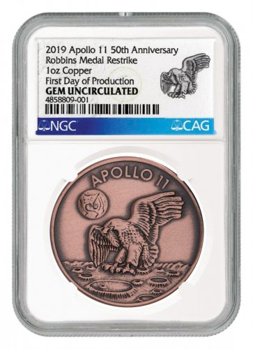 1969-2019 Apollo 11 50th Anniversary Robbins Medals 1 oz Copper Antiqued Medal NGC GEM Unc First Day of Production